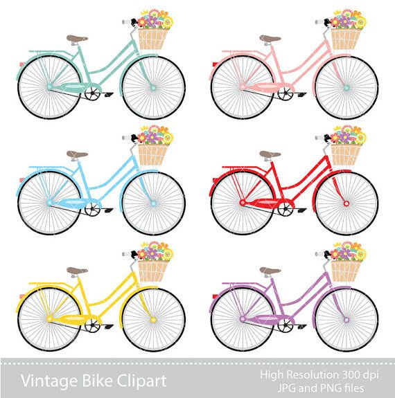 Fiets clipart svg free library Digital Clipart - Womans Bicycle Clipart for Scrapbooking ... svg free library