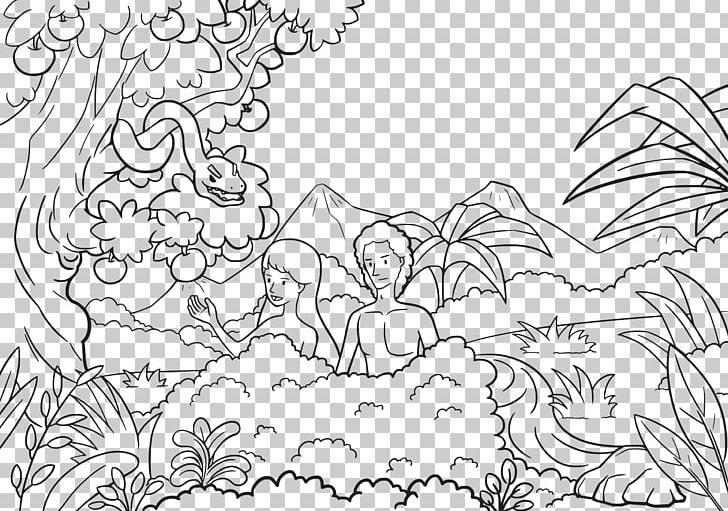 Lds garden of eden clipart black and white png free stock Adam And Eve Garden Of Eden Coloring Book Bible Child PNG, Clipart ... png free stock
