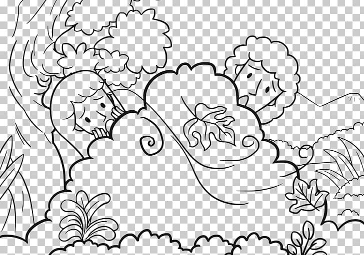 Fig gardening in bible clipart black and white clip black and white Garden Of Eden Coloring Book Adam And Eve Bible Forbidden Fruit PNG ... clip black and white