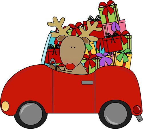 Filled clipart clip art library library Reindeer driving a car full of Christmas gifts. | Christmas Clip ... clip art library library