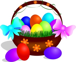 Filled clipart banner free download Easter Basket Clipart Image - Easter Basket Filled With Colored Eggs banner free download