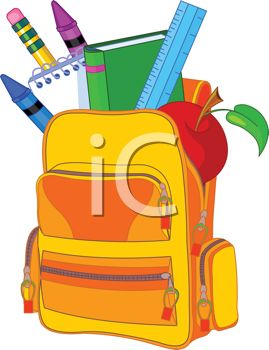 Filled clipart black and white stock Cartoon Backpack Filled with School Supplies - Royalty Free Clip ... black and white stock