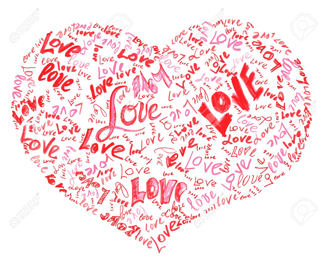 Filled with love clipart banner black and white Heart Drawn By Pencil Filled With Love Words Inside Stock Photo ... banner black and white
