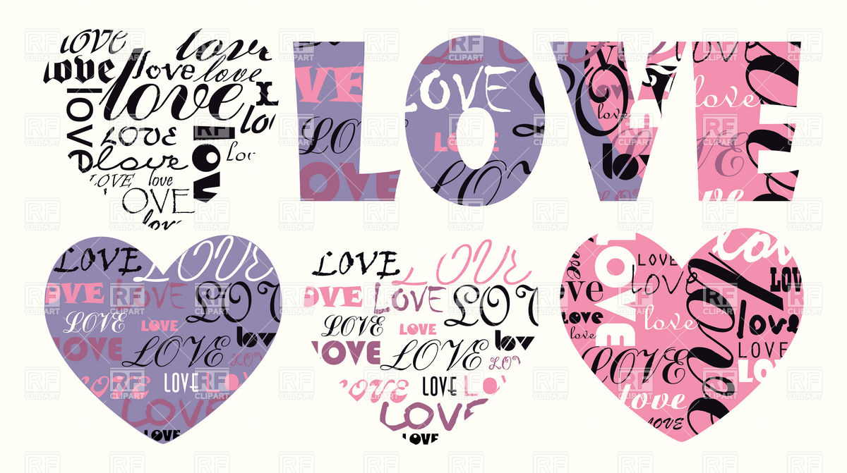Filled with love clipart png black and white stock Stylized heart and word Love filled with letters Vector Image ... png black and white stock