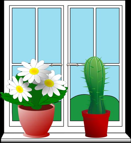 Finestra clipart clipart download Clip art di finestra con due piante in vaso | Immagini vettoriali ... clipart download