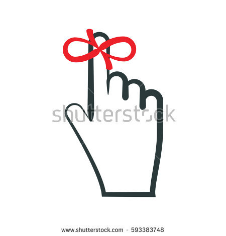 Finger with ribbon clipart clip black and white stock Reminder Icon Hand Finger On Which Stock Vector 305366156 ... clip black and white stock