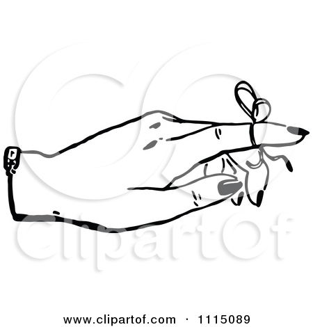 Finger with ribbon clipart vector download Clipart Vintage Black And White Woman With A Reminder Ribbon On A ... vector download