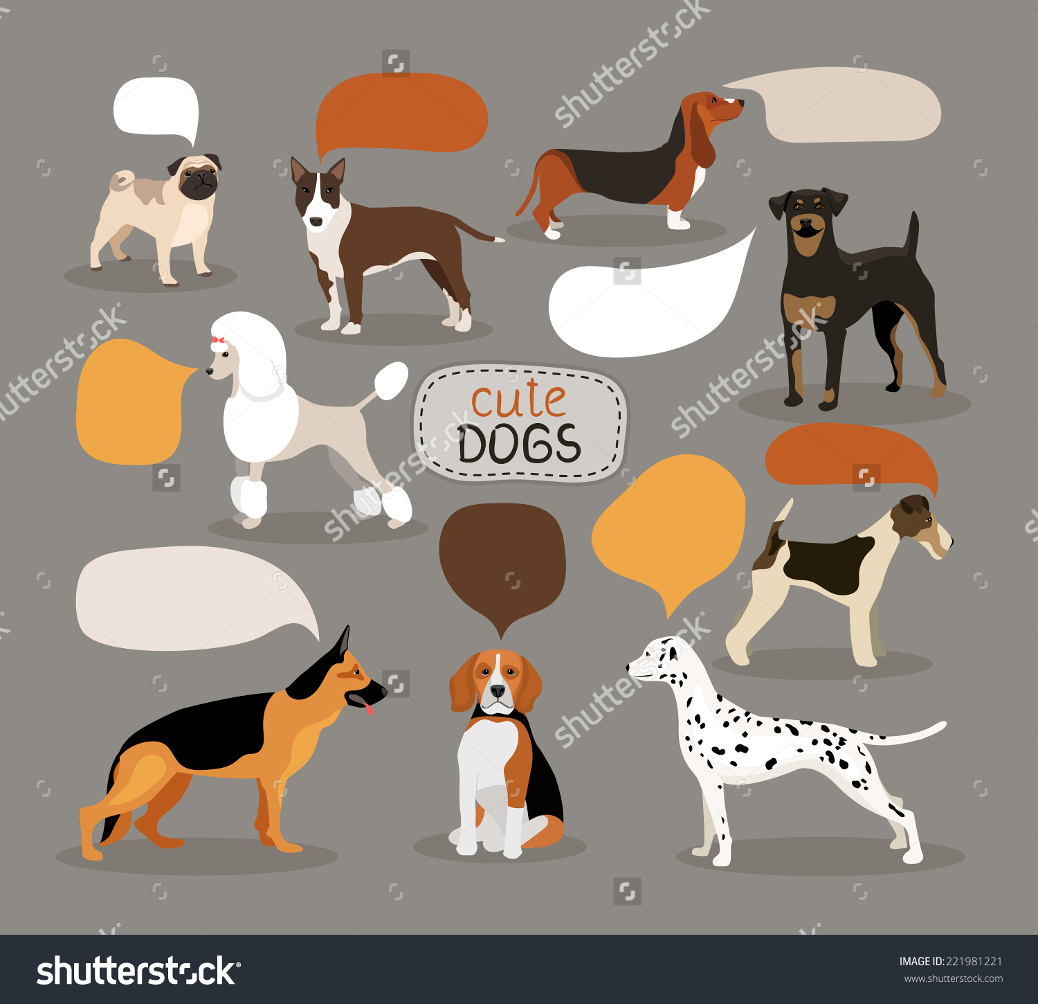 Finnish hound clipart clipart clip Set Colored Vector Dog Breeds Empty Stock Vector 221981221 ... clip