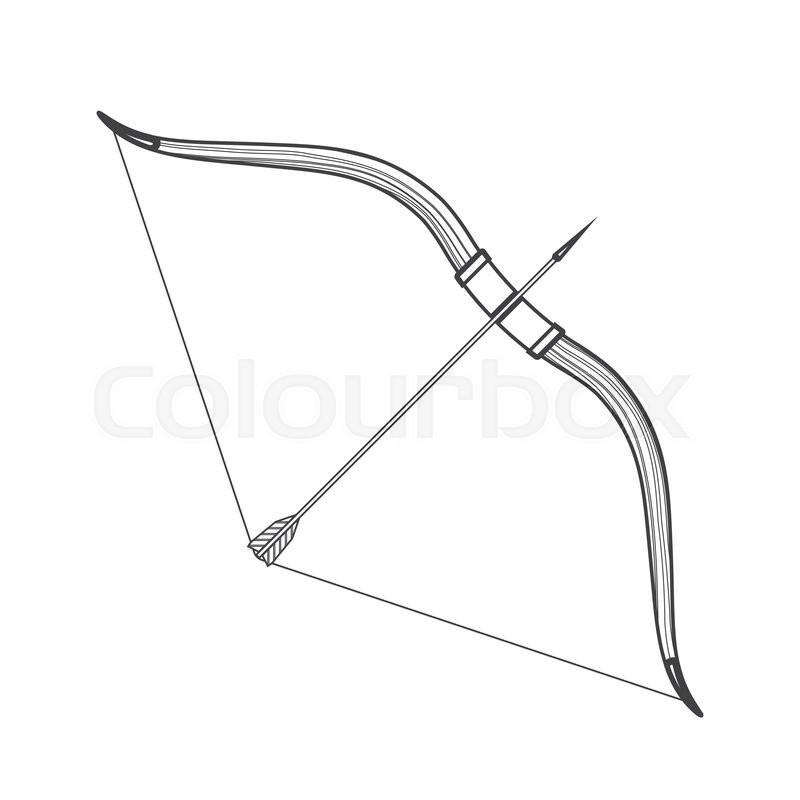 Fire arrow outline clipart banner library download Vector monochrome contour medieval wooden bow with arrow isolated ... banner library download