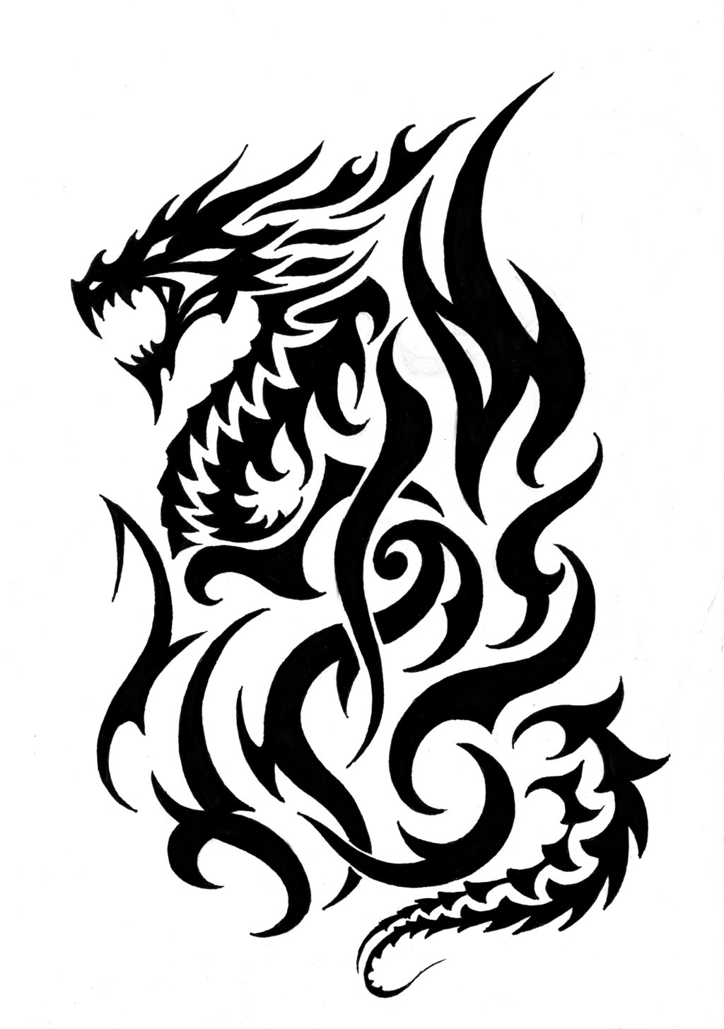 Fire breathing flame clipart black and white download Free Fire Breathing Dragon Tattoos, Download Free Clip Art, Free ... download
