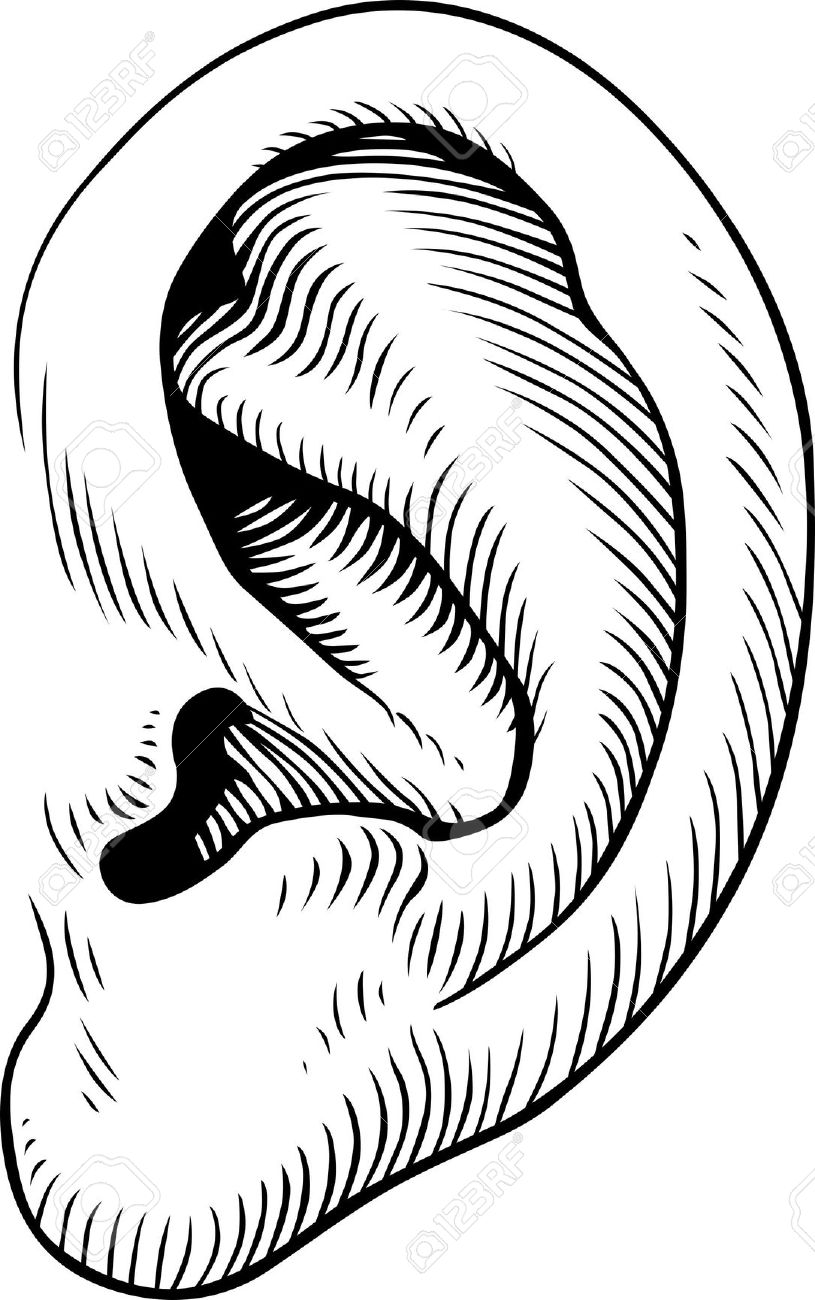 Fire coming out of ears clipart black and white png free stock left ear clipart free clip art images image 5 - WikiClipArt png free stock
