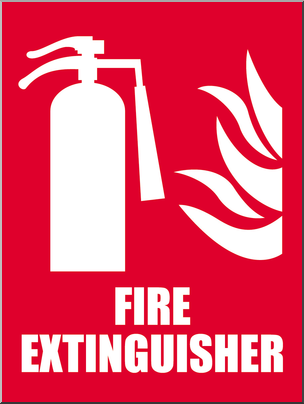 Fire extinguisher sign clipart