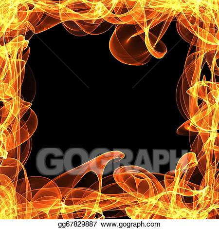 Fire frame clipart picture black and white download Stock Illustration - Frame of fire. Clipart gg67829887 - GoGraph picture black and white download