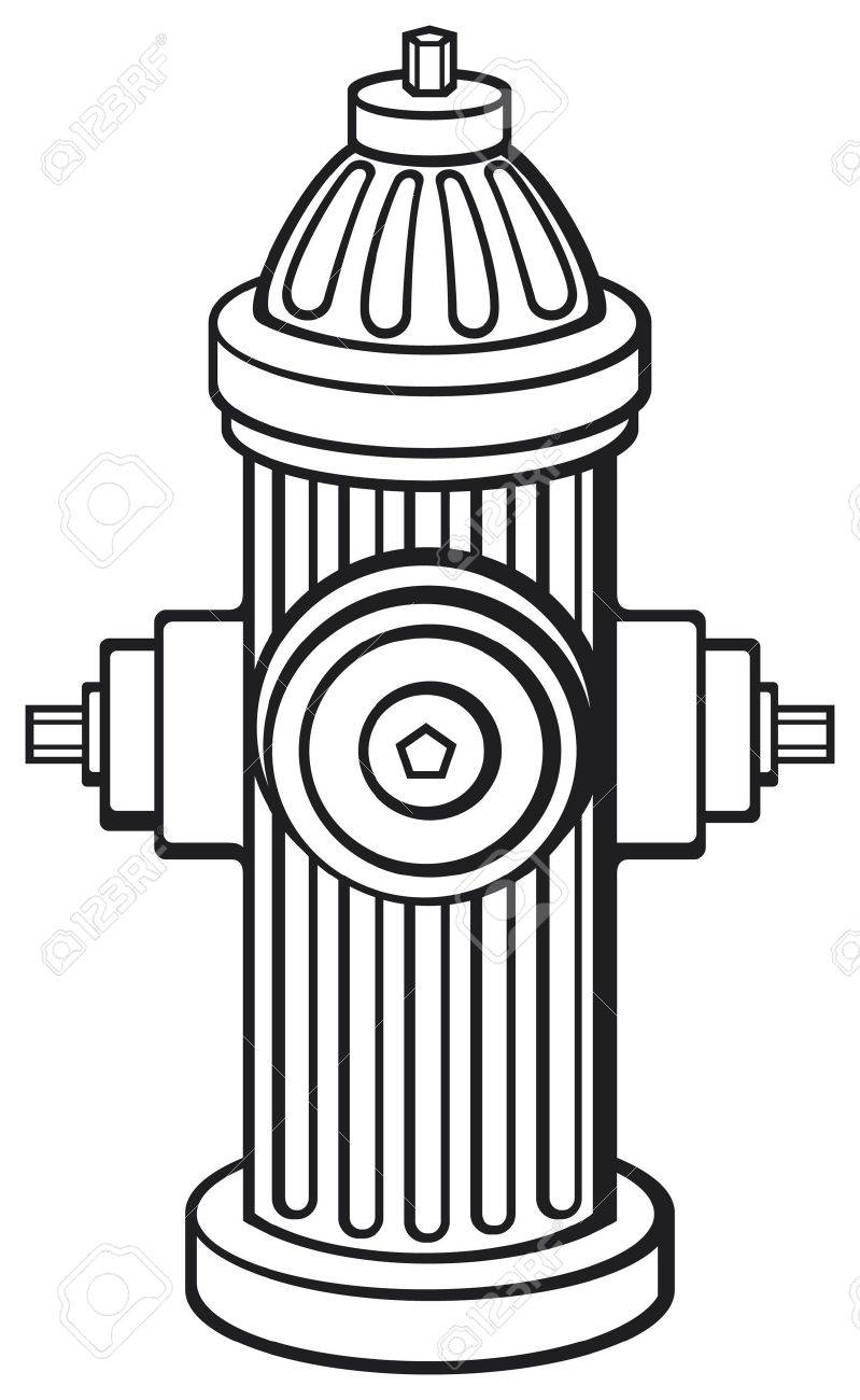 Fire hydrant clipart black and white