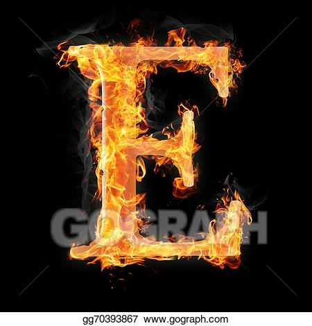 Fire letter e clipart image stock Drawing - Burning objects and objects on fire background. Clipart ... image stock