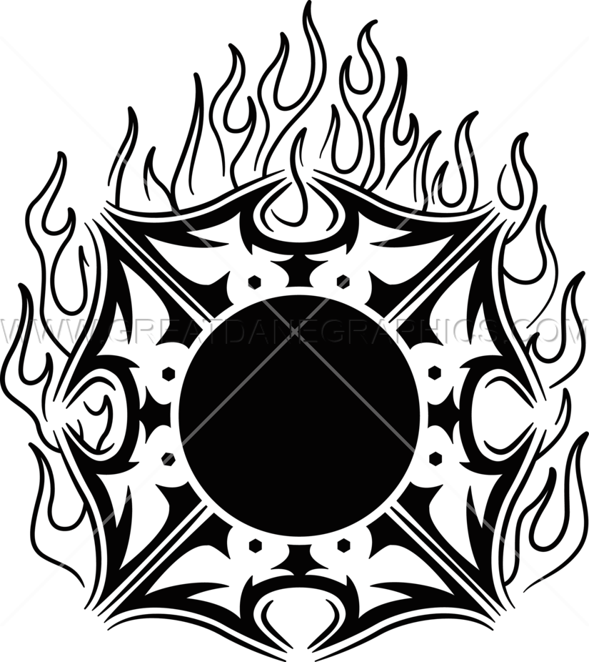 Fire Maltese Cross | Production Ready Artwork for T-Shirt Printing black and white library