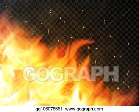 Fire particles clipart graphic library library Clip Art Vector - Fire background with flames, red fire sparks ... graphic library library