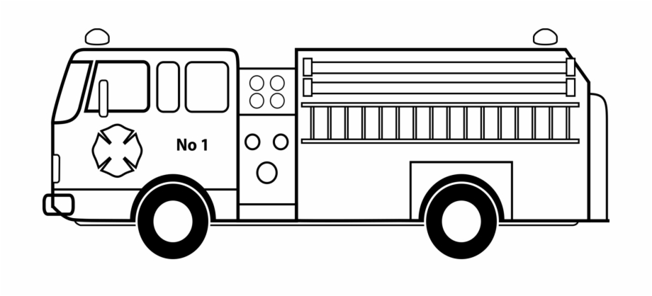 Fire truck clipart black white png freeuse Picture Royalty Free Library Car Fire Engine Coloring - Fire Truck ... png freeuse