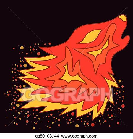 Fire wolf clipart clip art royalty free library Vector Illustration - Tattoo fire wolf, vector. EPS Clipart ... clip art royalty free library
