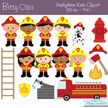 Firefighter clipart for kids graphic Firefighter Kids Digital Art Set Clipart Commercial Use Clip Art Fireman  Clipart graphic