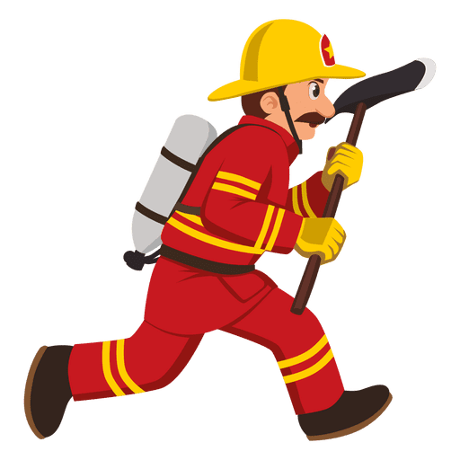 Firefighter clipart png picture black and white library Firefighter running with axe - Transparent PNG & SVG vector picture black and white library