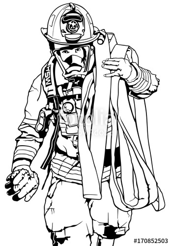 Firehelmet and hose clipart black and white picture transparent library Firefighter With Fire Hose Over Shoulder - Black and White ... picture transparent library