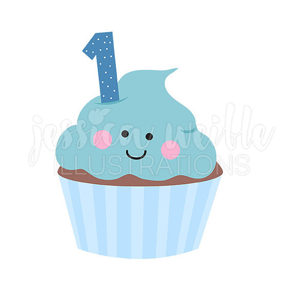 First birthday cupcake clipart svg library Blue Boys First Birthday Cupcake Cute Digital Clipart, Cupcake ... svg library