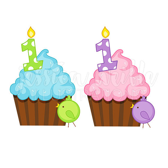 First birthday cupcake clipart clip transparent First Birthday Cupcake Cute Digital Clipart First Birthday clip transparent
