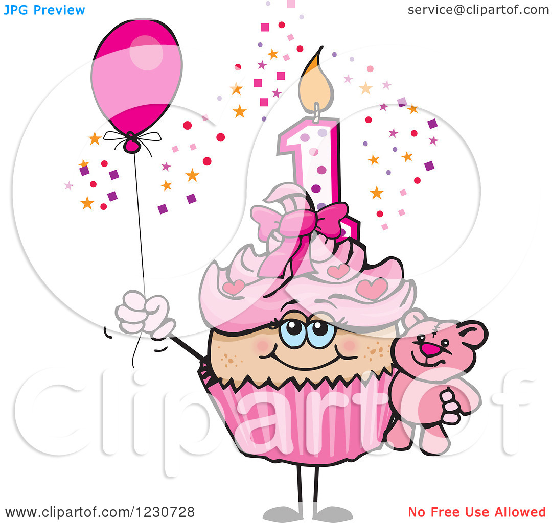 First birthday cupcake clipart jpg transparent download Clipart of a Pink Girls First Birthday Cupcake with a Teddy Bear ... jpg transparent download