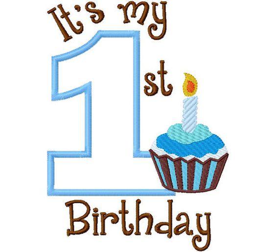 First birthday cupcake clipart jpg transparent download My First Birthday Cupcake Filled Boy one 1 Applique Design ... jpg transparent download