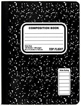 First page of black and white notebook inside cover clipart. Top flight sewn composition
