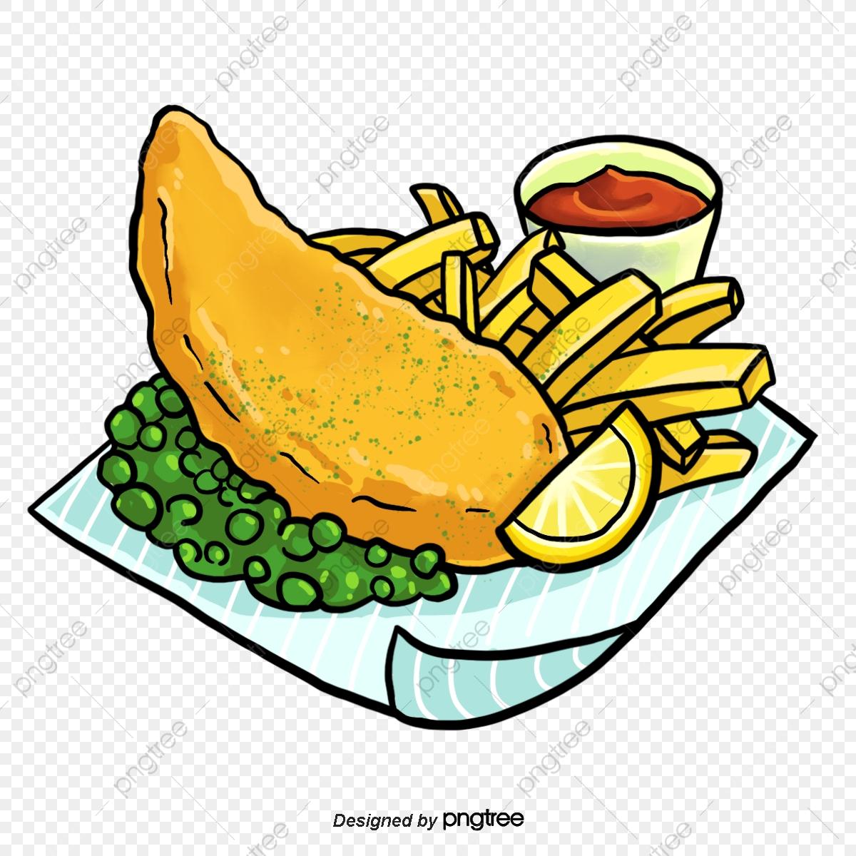 Hand painted english drawn. Fish and chips clipart free