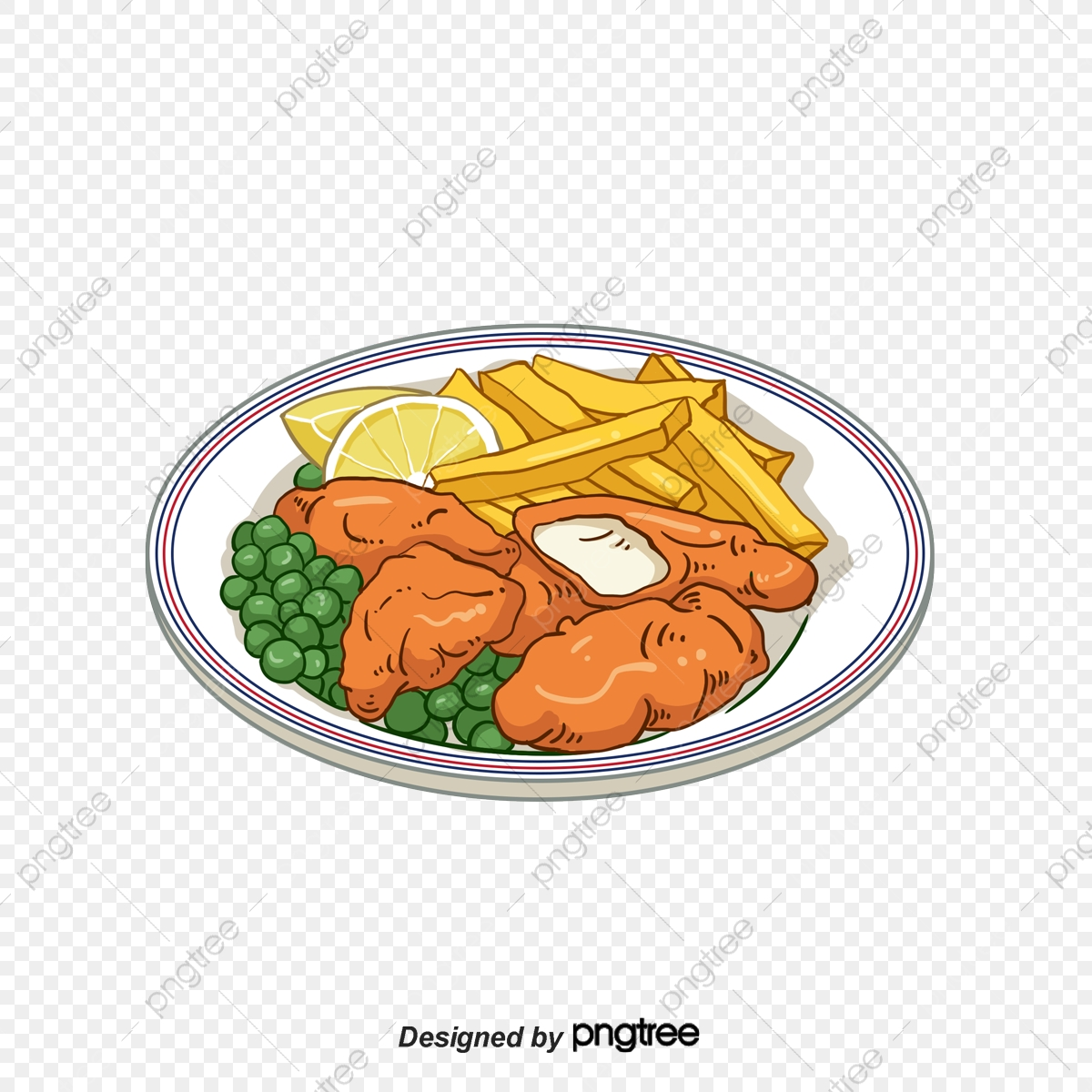 Fish and chips clipart free. Hand painted cartoon lemon