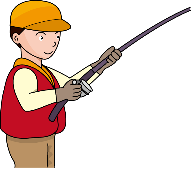 Fishing pole rod and. Fish clipart for kids