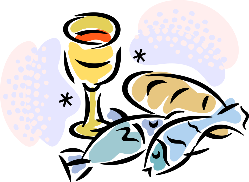 Fish and loaves clipart. Christian chalice cup vector