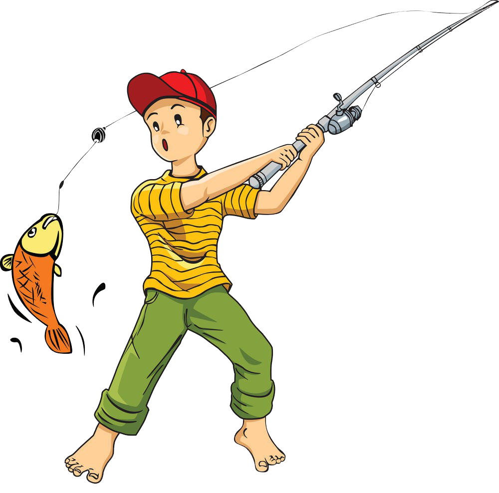 Cartoon clip art catch. Fish with a fishing rod clipart
