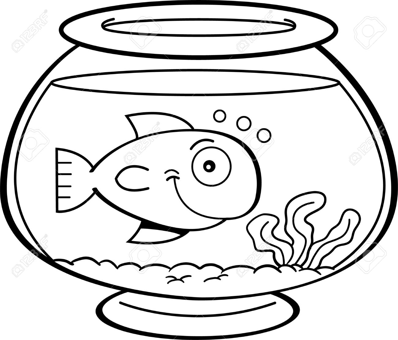 Images free download best. Fish bowl with fish black and white clipart