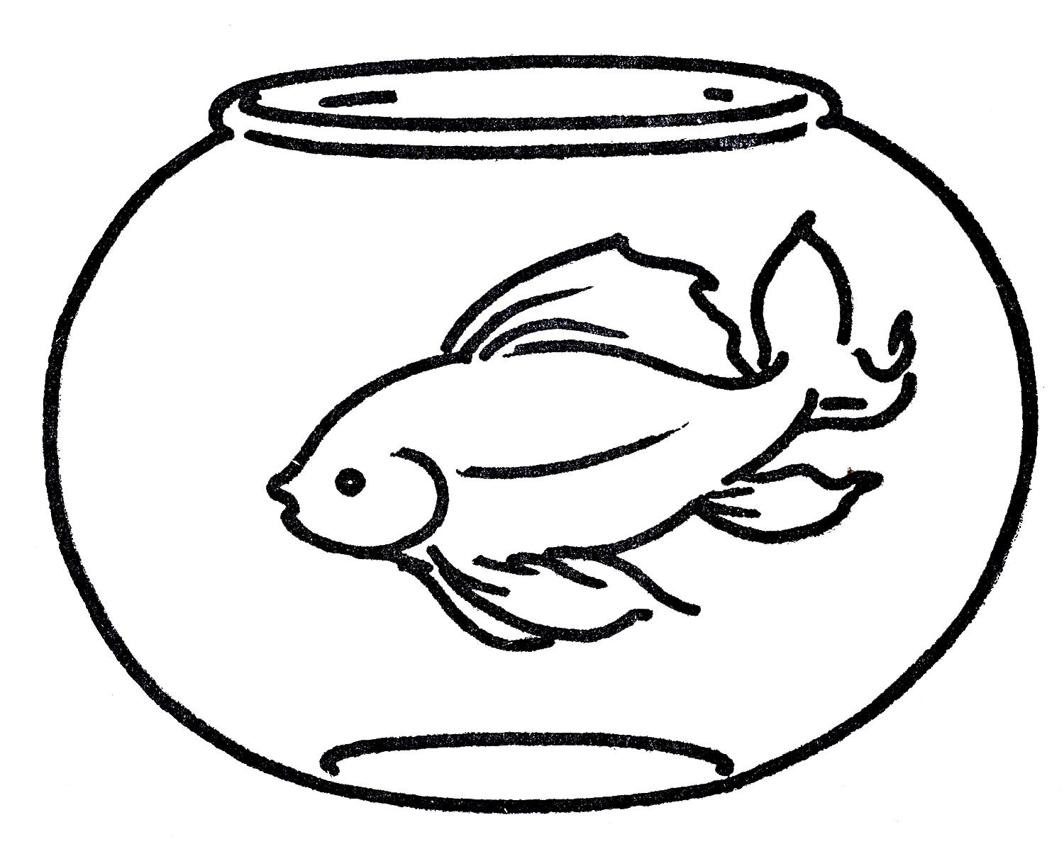 Fish bowl with fish black and white clipart.