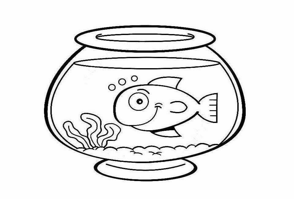 Fish bowl with fish black and white clipart. Free empty fishbowl vector