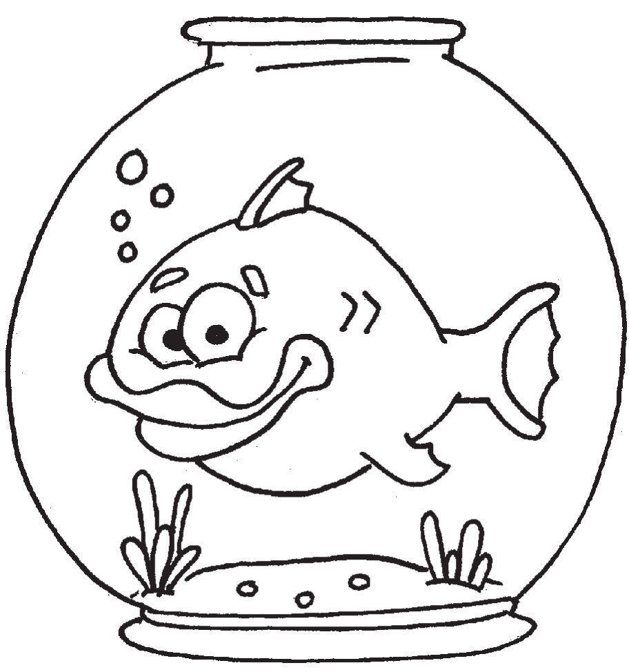 Coloring pages clipartbarn . Fish bowl with fish black and white clipart