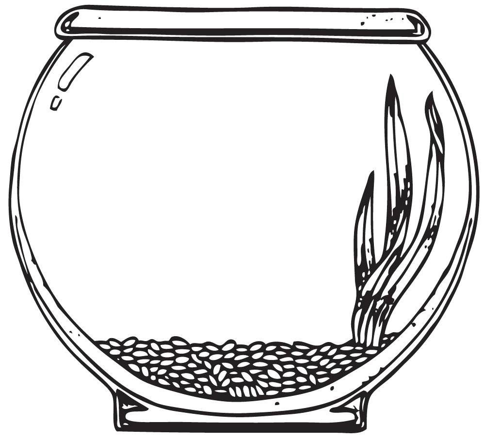 Fish bowl with fish black and white clipart. Coloring page pencil in