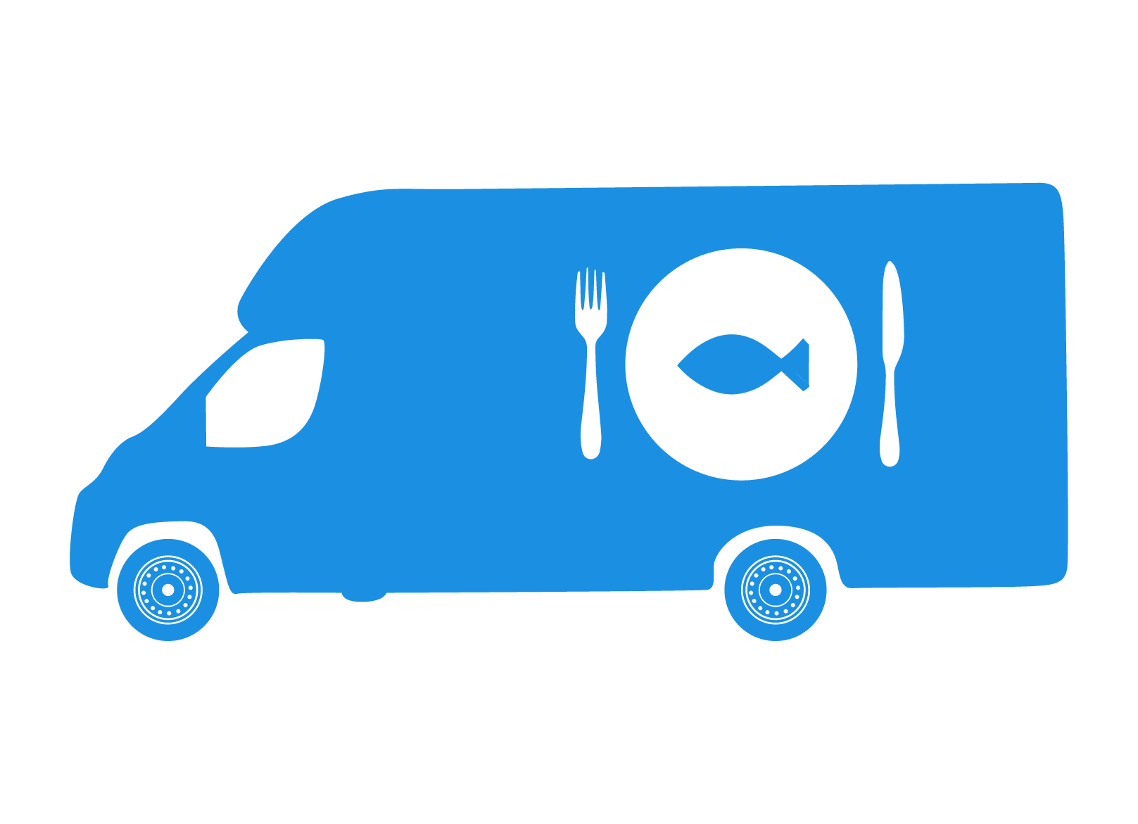 Fish & chips clipart clipart black and white stock Mobile fish and chip van and Catering Van Insurance clipart black and white stock