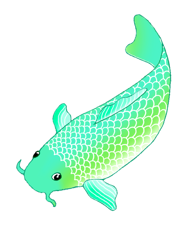 Fish clipart blue outline graphic free library Colorful Koi Fish Drawings graphic free library