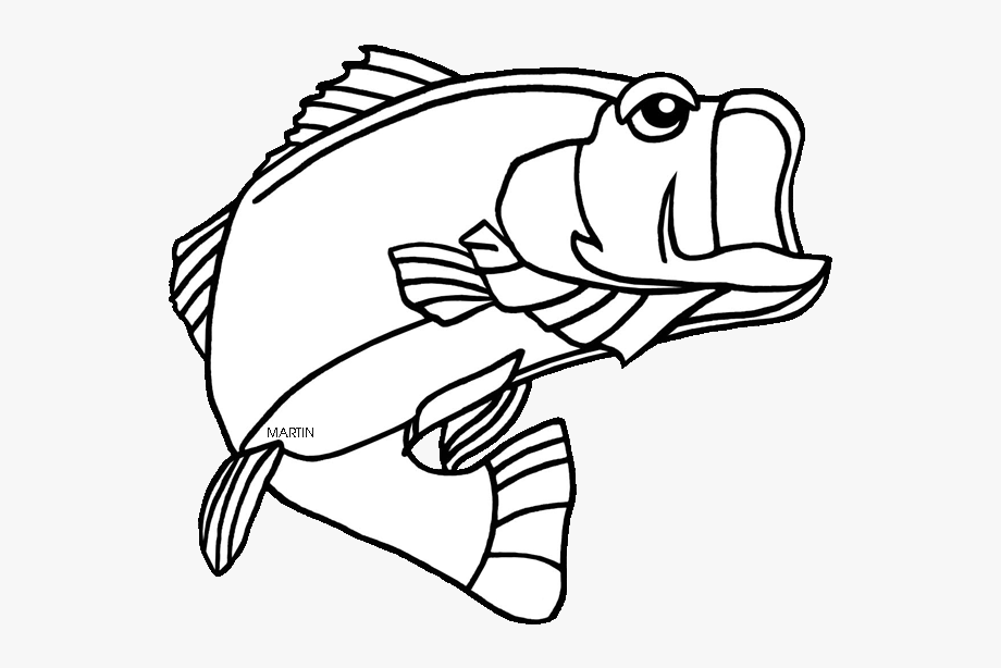 Fish clipart for coloring png free stock Free Fish Clipart - Bass Fish Coloring Page #76484 - Free Cliparts ... png free stock