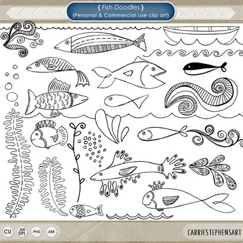 Fish clipart for photoshop image royalty free library Fish ClipArt, Fish Doodles, Digital Stamps + Photoshop Brush, Nautical image royalty free library