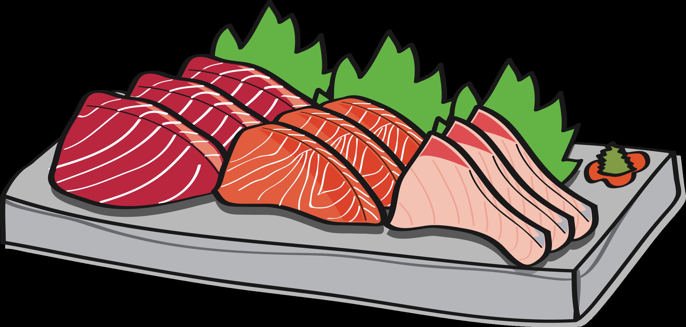 Fish dish clipart. Sashimi assortment big image