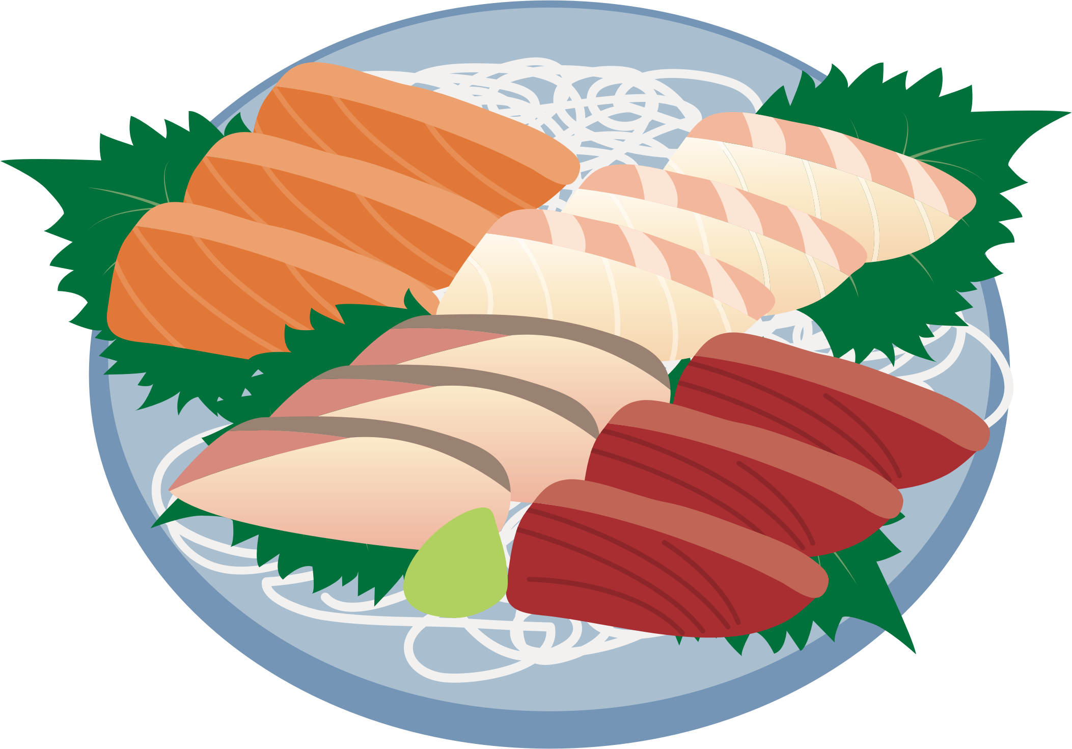Sashimi assortment big image. Fish dish clipart