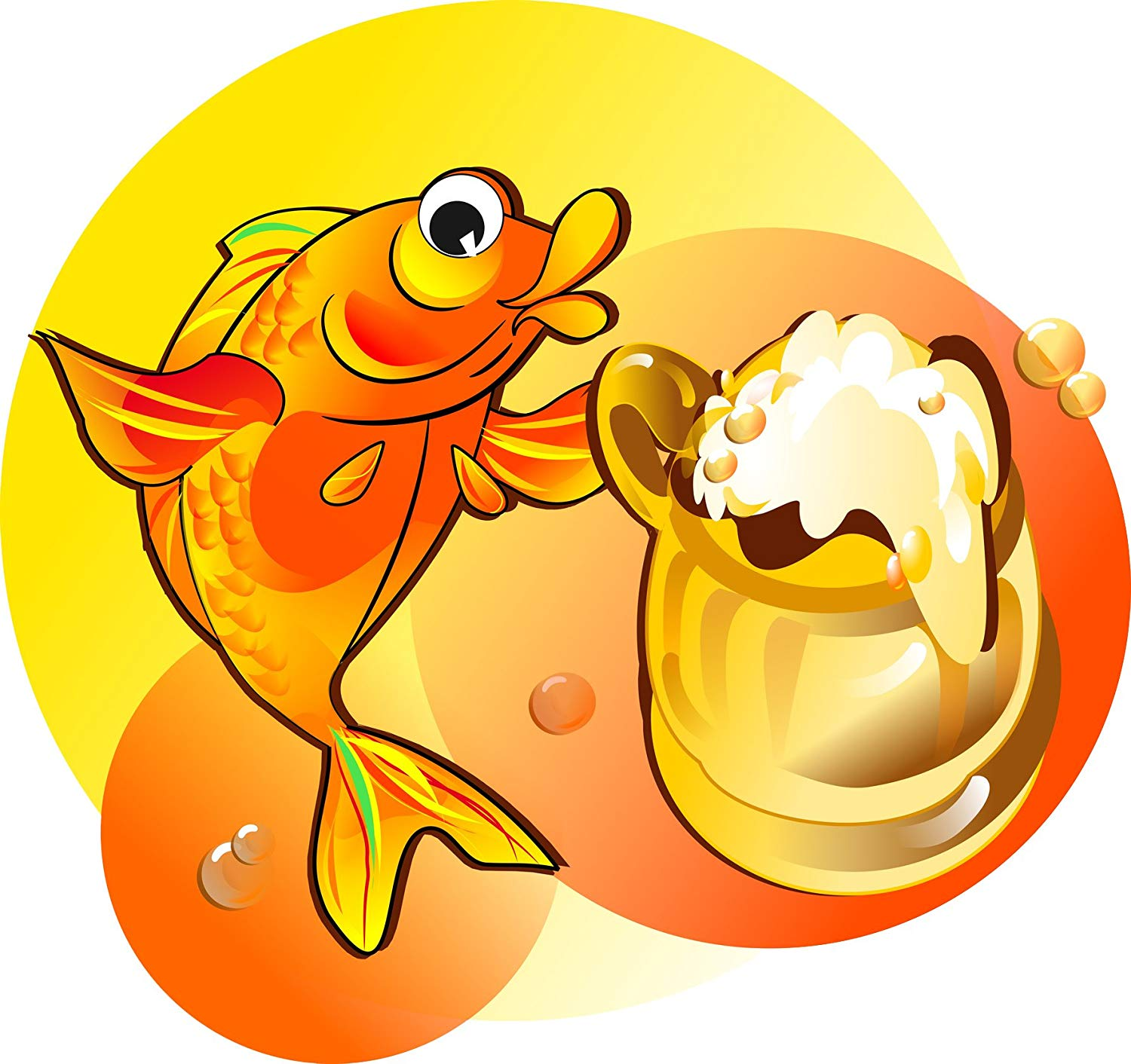 Fish drinking beer clipart library Amazon.com: Happy Drunk Gold Fish Drinking Beer Cartoon Vinyl Decal ... library
