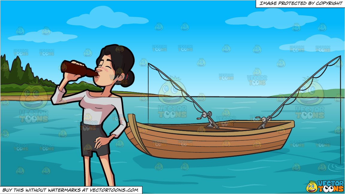 Fish drinking beer clipart vector black and white stock A Woman Drinking A Bottle Of Beer and Fishing Boat On The Lake Background vector black and white stock