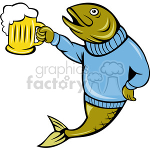 Fish drinking beer clipart banner black and white stock fish holding a beer mug clipart. Royalty-free clipart # 388372 banner black and white stock